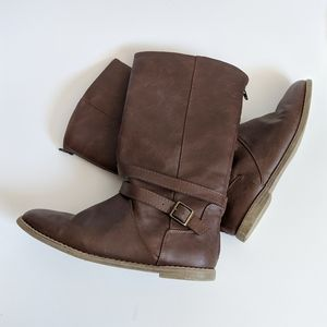 Brown Faux Leather Boots 6
